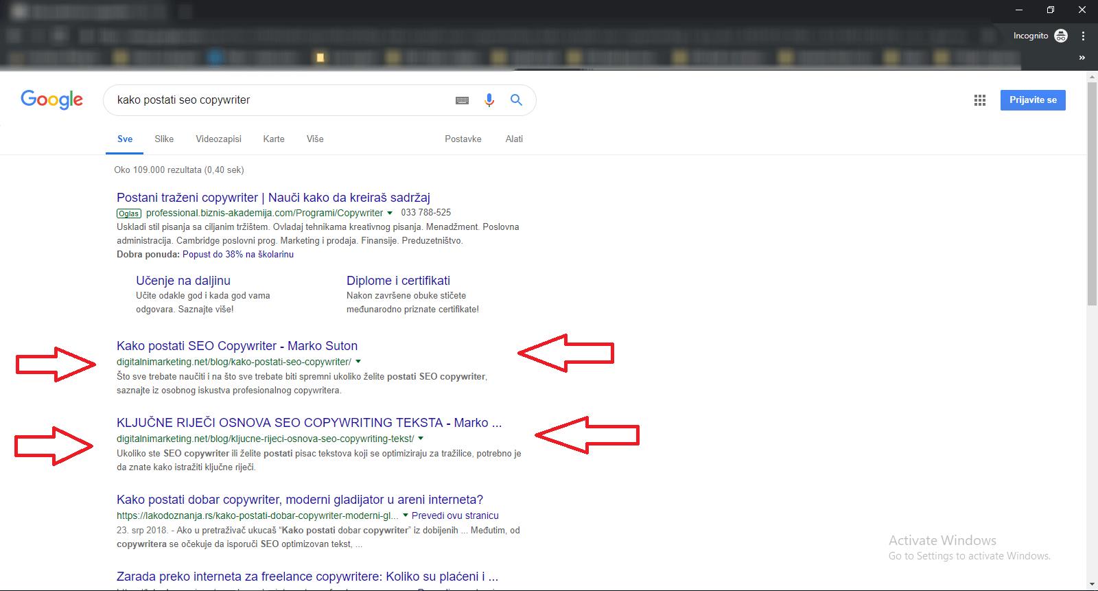 Za ključnu riječ KAKO POSTATI SEO COPYWRITER - Digitalnimarketing.net